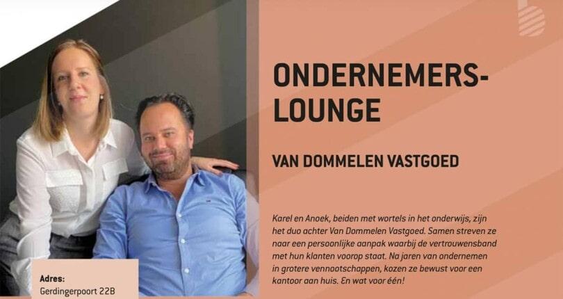 Stadsmagazine Klets! interviewt Van Dommelen Vastgoed voor de rubriek 'ondernemerslounge'